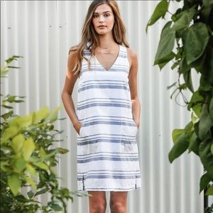 Lilla P Woven Shift Dress Blue Stripes XS
